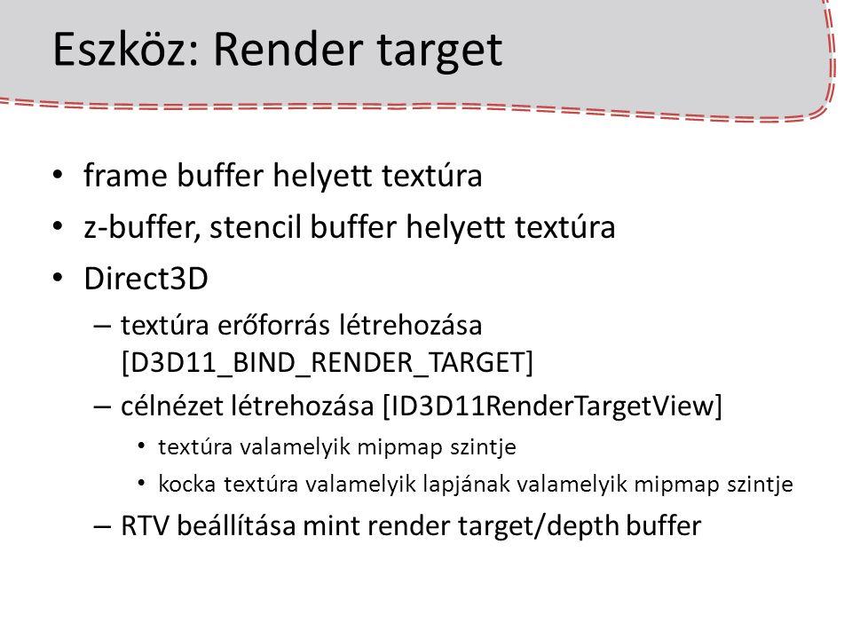 FAT író shader vertex shader marad a klasszikus trafó pixel shader [MRT] struct PsosDefer { float4 geometry : SV_Target0; float4 brdf : SV_Target1; }; PsosDefer psDefer(VsosTrafo input){ PsosDefer output; output.geometry = float4( normalize(input.normal), length(input.worldPos.xyz - eyePos) ); output.brdf = kdTexture.Sample(linearSampler, input.tex); return output; }