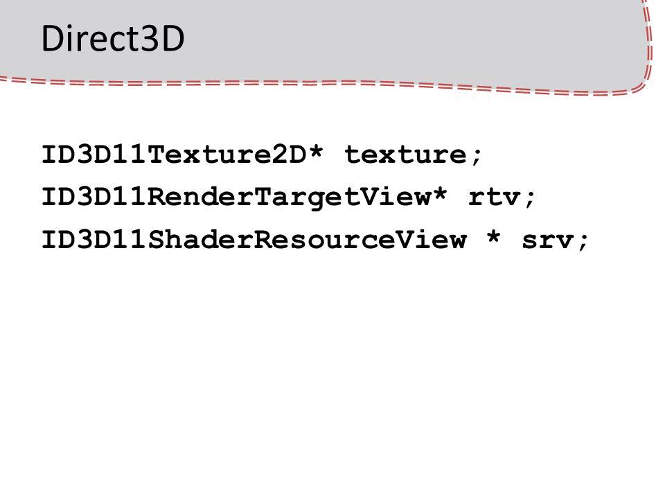 Direct3D – RTT textúra létrehozása D3D11_TEXTURE2D_DESC textureDesc; ZeroMemory( &textureDesc, sizeof(textureDesc) ); textureDesc.Width = 512; textureDesc.Height = 512; textureDesc.MipLevels = 1; textureDesc.ArraySize = 1; textureDesc.Format = DXGI_FORMAT_R32G32B32A32_FLOAT; textureDesc.SampleDesc.Count = 1; textureDesc.Usage = D3D11_USAGE_DEFAULT; textureDesc.BindFlags = D3D11_BIND_RENDER_TARGET | D3D11_BIND_SHADER_RESOURCE; device->CreateTexture2D( &textureDesc, NULL, &texture );