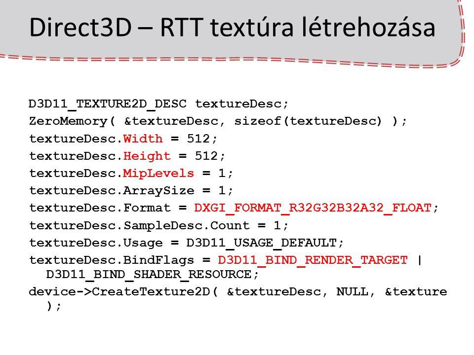 3D helyett nem csak a klasszikus 3D perspektív pipelinet használhatjuk egy menetben – full screen quad: minden pixelre futtatunk egy pixel shadert – render-to-UV-atlas a geometriát rajzoljuk a vertex bufferben output.pos = (input.tex * 2) - 1; a kész textúra sima textúrázással felrakható