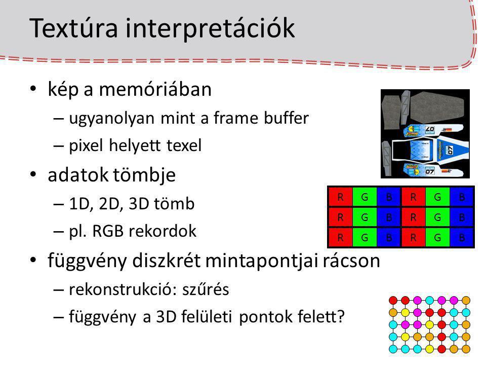 Textúra interpretációk kép a memóriában – ugyanolyan mint a frame buffer – pixel helyett texel adatok tömbje – 1D, 2D, 3D tömb – pl. RGB rekordok függ