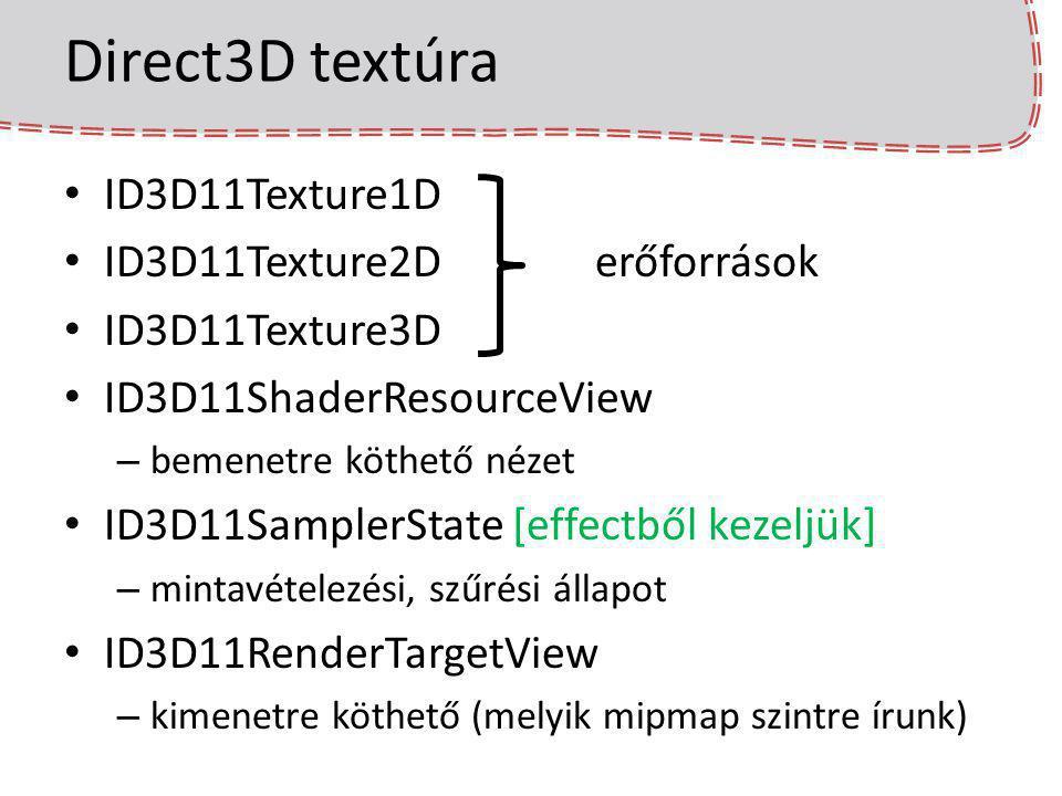 Direct3D textúra ID3D11Texture1D ID3D11Texture2Derőforrások ID3D11Texture3D ID3D11ShaderResourceView – bemenetre köthető nézet ID3D11SamplerState [eff