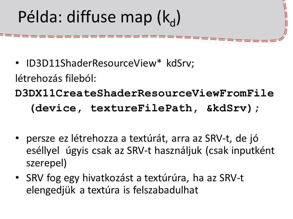 Példa: diffuse map (k d ) ID3D11ShaderResourceView* kdSrv; létrehozás fileból: D3DX11CreateShaderResourceViewFromFile (device, textureFilePath, &kdSrv