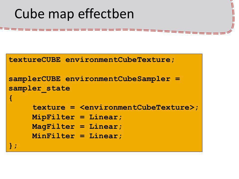 Cube map effectben textureCUBE environmentCubeTexture; samplerCUBE environmentCubeSampler = sampler_state { texture = ; MipFilter = Linear; MagFilter