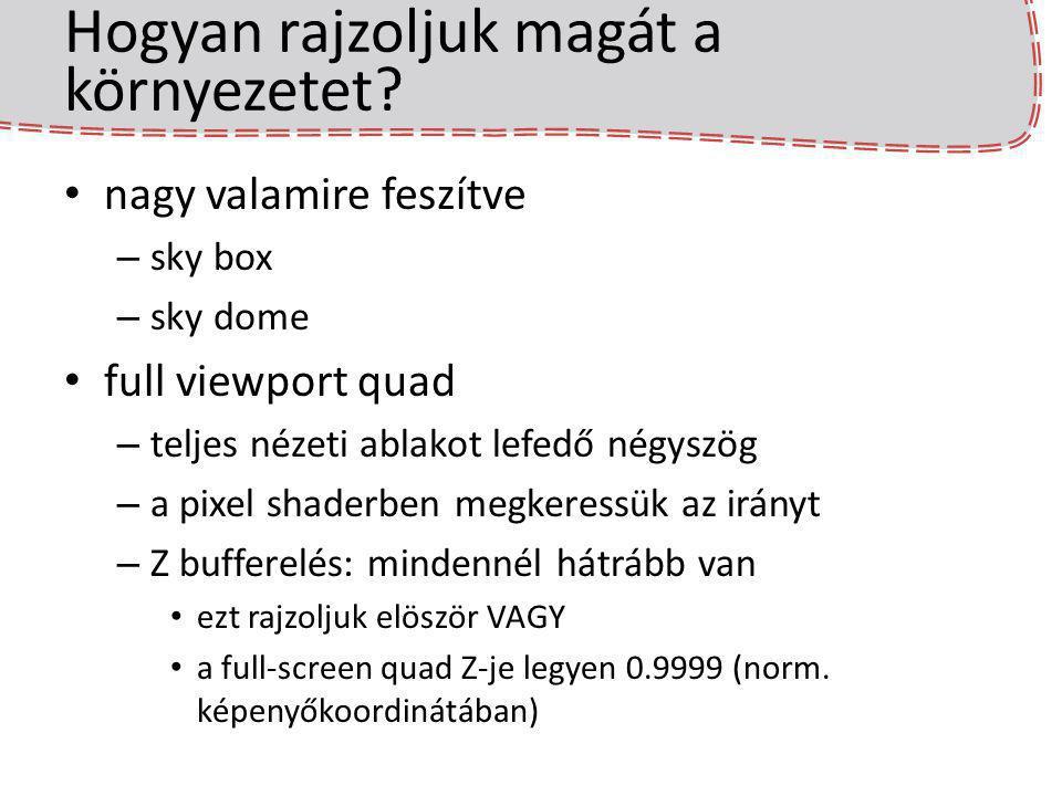 Hogyan rajzoljuk magát a környezetet? nagy valamire feszítve – sky box – sky dome full viewport quad – teljes nézeti ablakot lefedő négyszög – a pixel