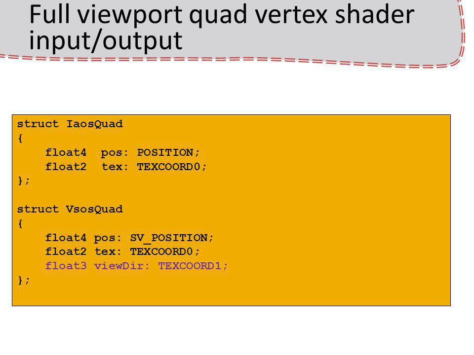 Full viewport quad vertex shader input/output struct IaosQuad { float4 pos: POSITION; float2 tex: TEXCOORD0; }; struct VsosQuad { float4 pos: SV_POSITION; float2 tex: TEXCOORD0; float3 viewDir: TEXCOORD1; };
