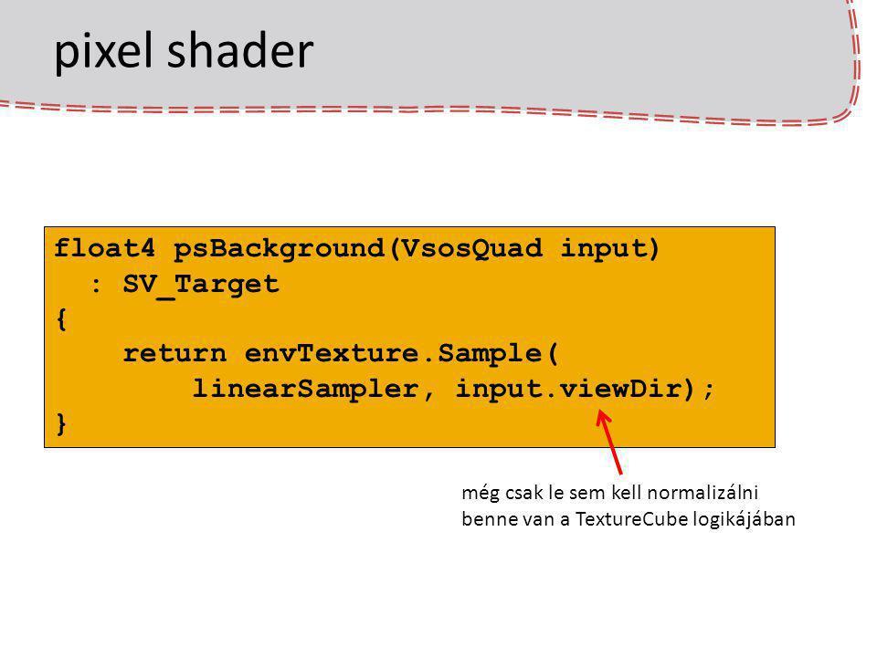 pixel shader float4 psBackground(VsosQuad input) : SV_Target { return envTexture.Sample( linearSampler, input.viewDir); } még csak le sem kell normali
