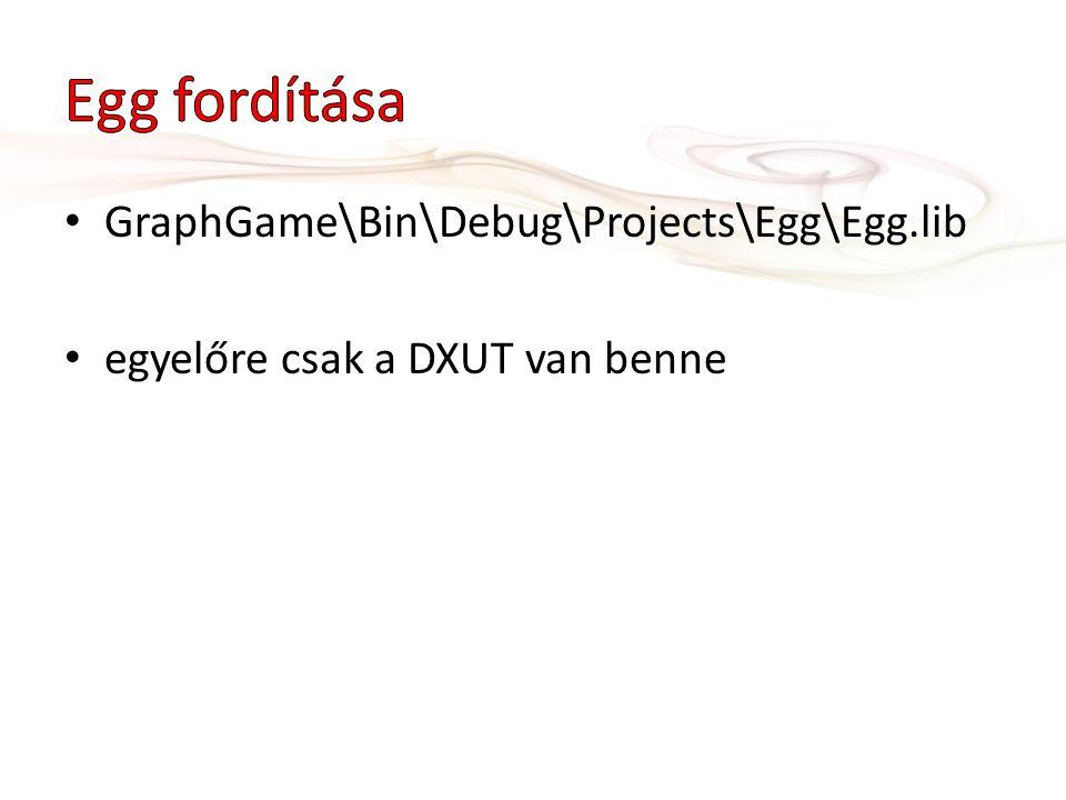 GraphGame\Bin\Debug\Projects\Egg\Egg.lib egyelőre csak a DXUT van benne