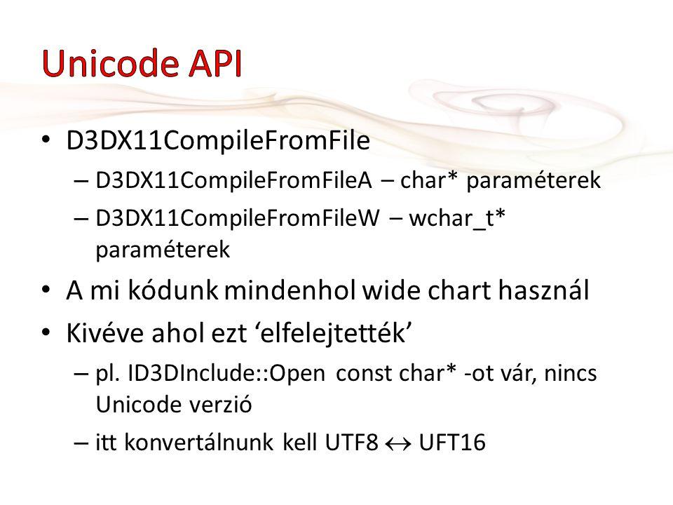 D3DX11CompileFromFile – D3DX11CompileFromFileA – char* paraméterek – D3DX11CompileFromFileW – wchar_t* paraméterek A mi kódunk mindenhol wide chart használ Kivéve ahol ezt 'elfelejtették' – pl.