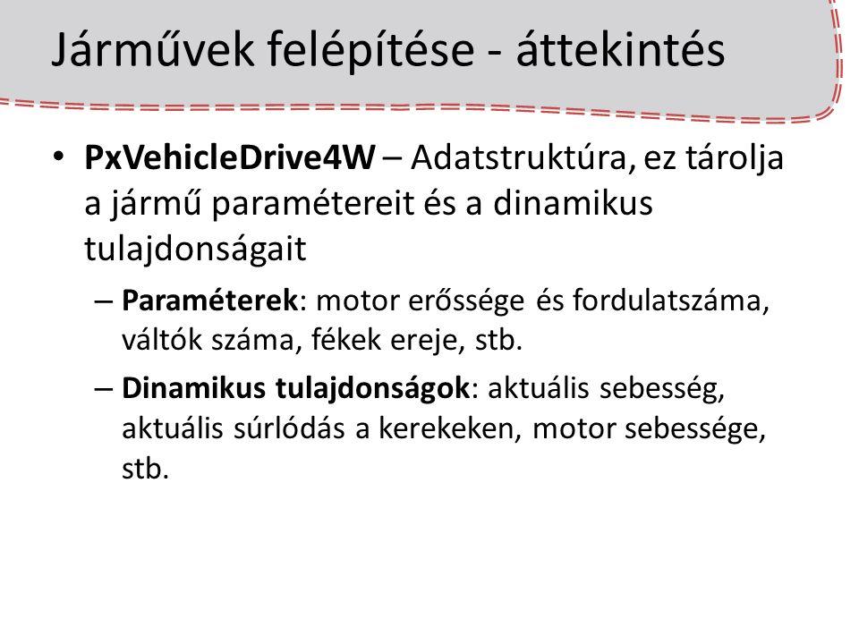Járművek felépítése - áttekintés PxVehicleDrive4W – Adatstruktúra, ez tárolja a jármű paramétereit és a dinamikus tulajdonságait – Paraméterek: motor