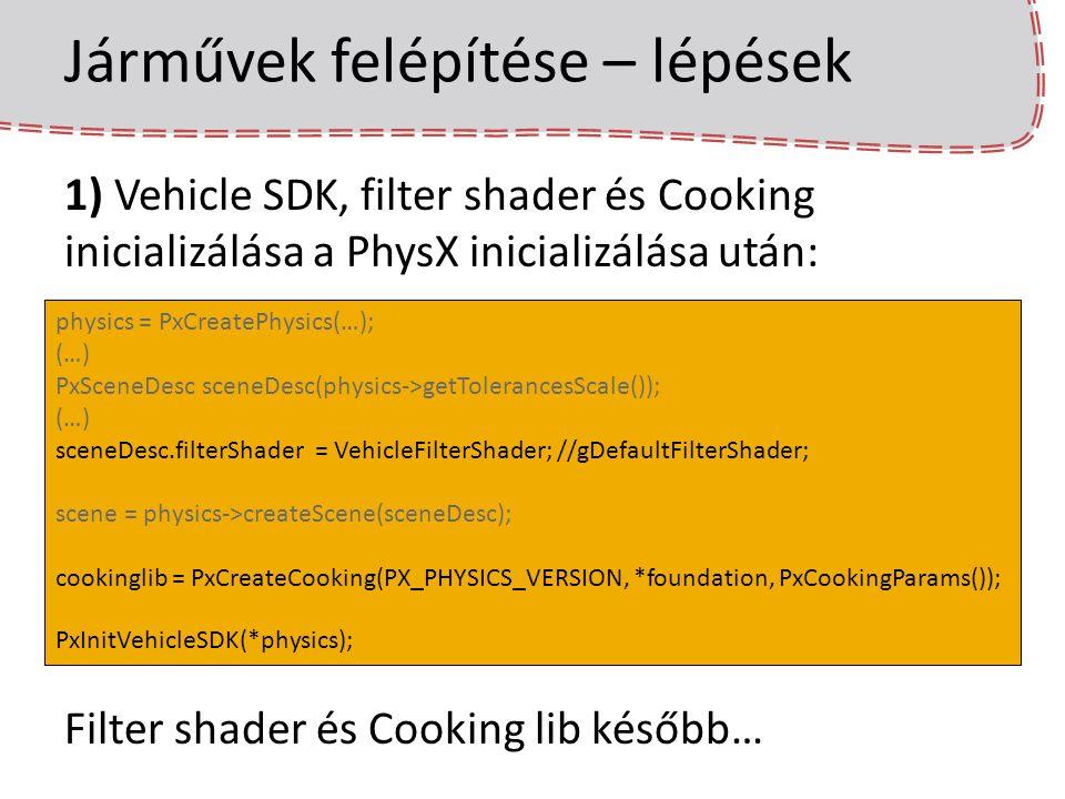 Járművek felépítése – lépések 1) Vehicle SDK, filter shader és Cooking inicializálása a PhysX inicializálása után: Filter shader és Cooking lib később