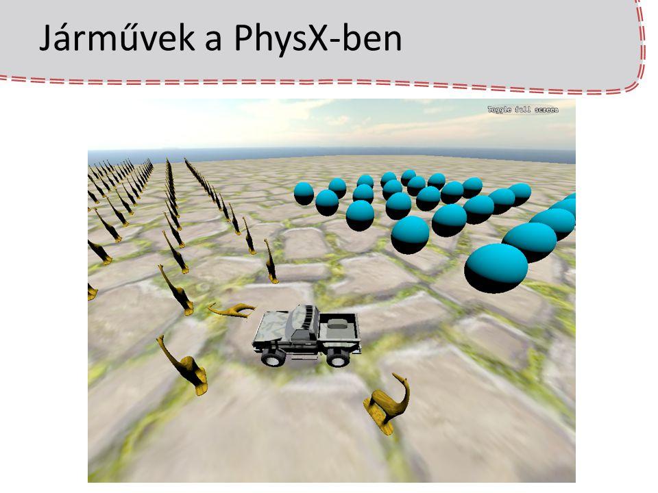 PhysX ismétlés A zsiráf betöltésekor egy doboz objektumot regisztrálunk a PhysX-ben Rendereléskor elkérjük a PhysX-től a doboz helyét, és irányát majd ezzel frissítjük a zsiráf modellt A színtér animálásakor meg kell hívni a PhysX simulate(float dt) függvényét, ami szimulálja a fizikai világot (ütközést számol, gravitációt alkalmaz, stb.) A PhysX ezen ütközést, gravitációt számol