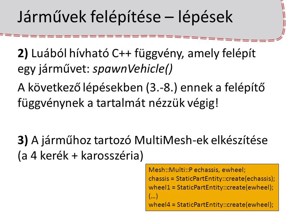 Járművek felépítése – lépések 2) Luából hívható C++ függvény, amely felépít egy járművet: spawnVehicle() A következő lépésekben (3.-8.) ennek a felépí