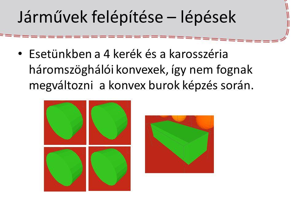 Járművek felépítése – lépések Esetünkben a 4 kerék és a karosszéria háromszöghálói konvexek, így nem fognak megváltozni a konvex burok képzés során.
