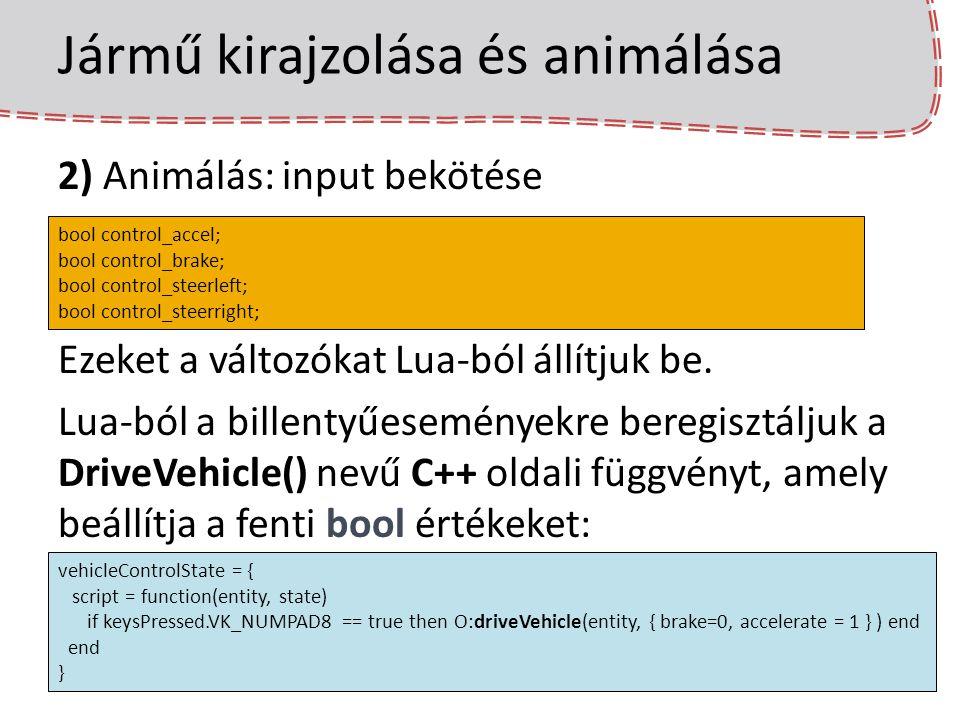 Jármű kirajzolása és animálása 2) Animálás: input bekötése Ezeket a változókat Lua-ból állítjuk be. Lua-ból a billentyűeseményekre beregisztáljuk a Dr