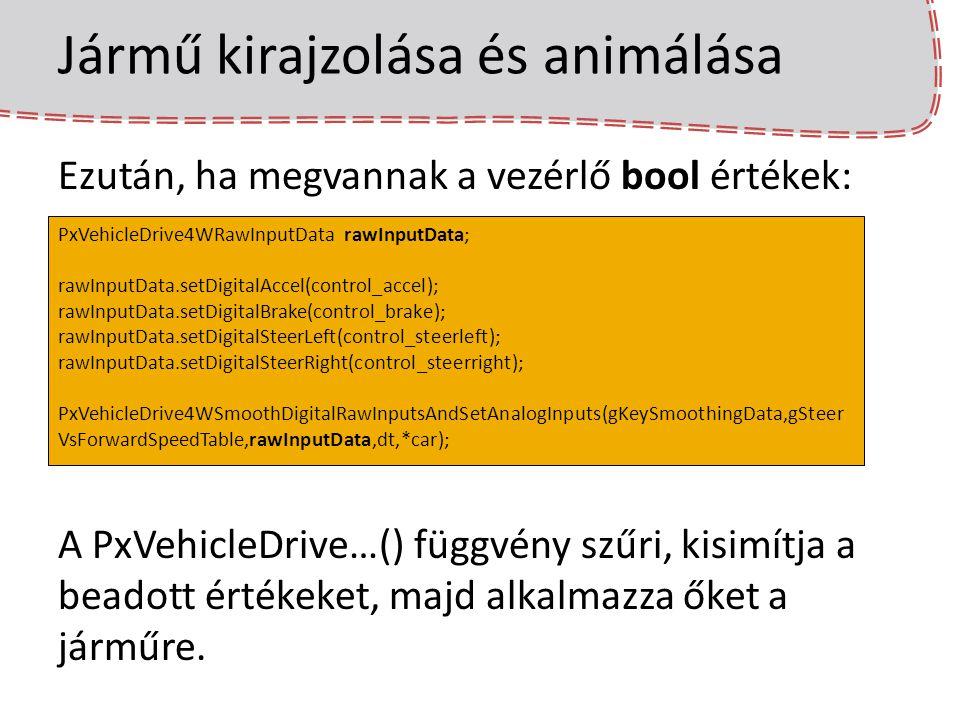 Jármű kirajzolása és animálása Ezután, ha megvannak a vezérlő bool értékek: A PxVehicleDrive…() függvény szűri, kisimítja a beadott értékeket, majd al