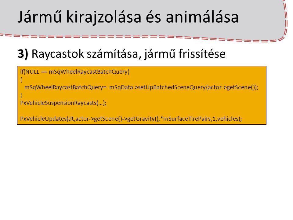 Jármű kirajzolása és animálása 3) Raycastok számítása, jármű frissítése if(NULL == mSqWheelRaycastBatchQuery) { mSqWheelRaycastBatchQuery= mSqData->se