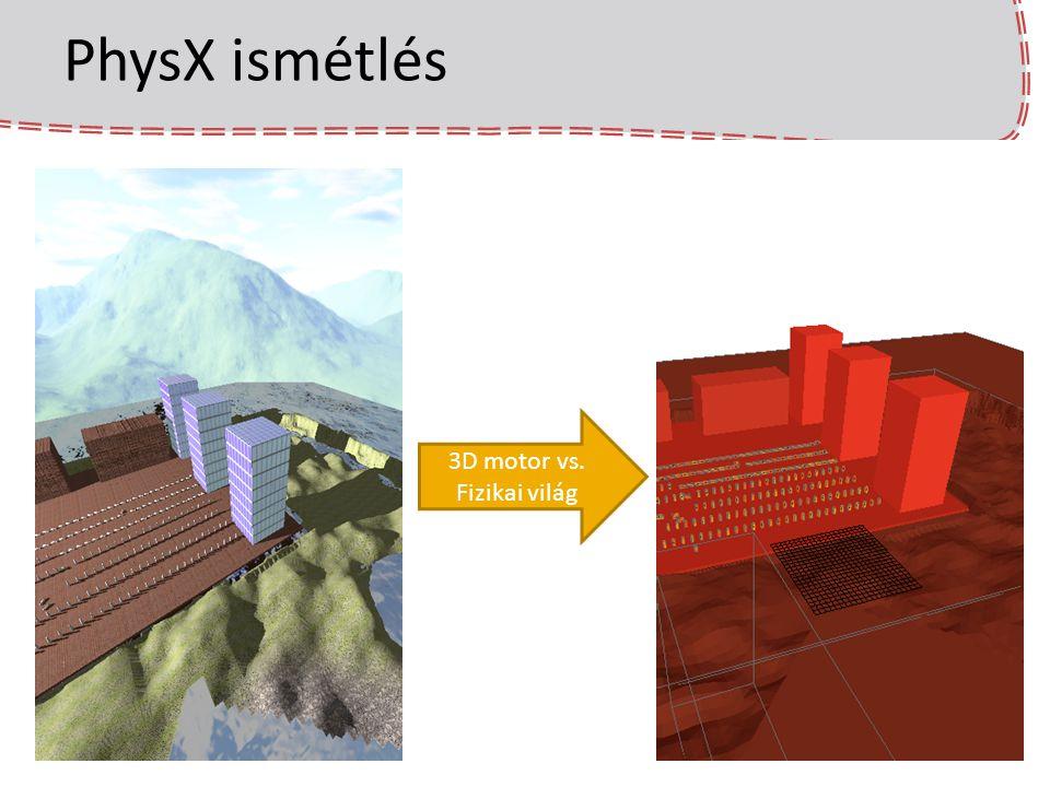 Járművek a PhysX-ben Járművek létrehozása az eddig ismert eszközökkel (merevtestek, ízületek, erők) nehézkes (közelítések, pontatlanságok miatt).