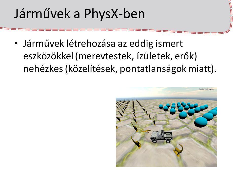 Járművek felépítése – lépések 9) Filter shader beállítása – A járművet egy rugózás (suspension) tartja szintben – A PhysX minden frissítéskor egy Raycast-tal megnézi, hogy milyen messze van a talaj az egyes kerekektől, és aszerint alkalmazza a rugóerőket.