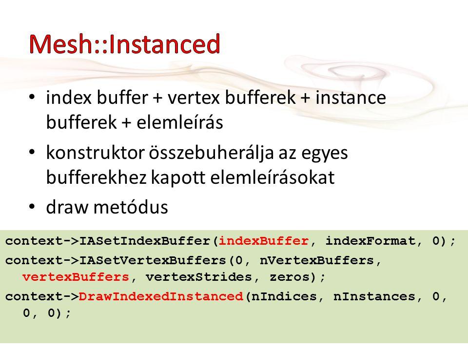index buffer + vertex bufferek + instance bufferek + elemleírás konstruktor összebuherálja az egyes bufferekhez kapott elemleírásokat draw metódus con
