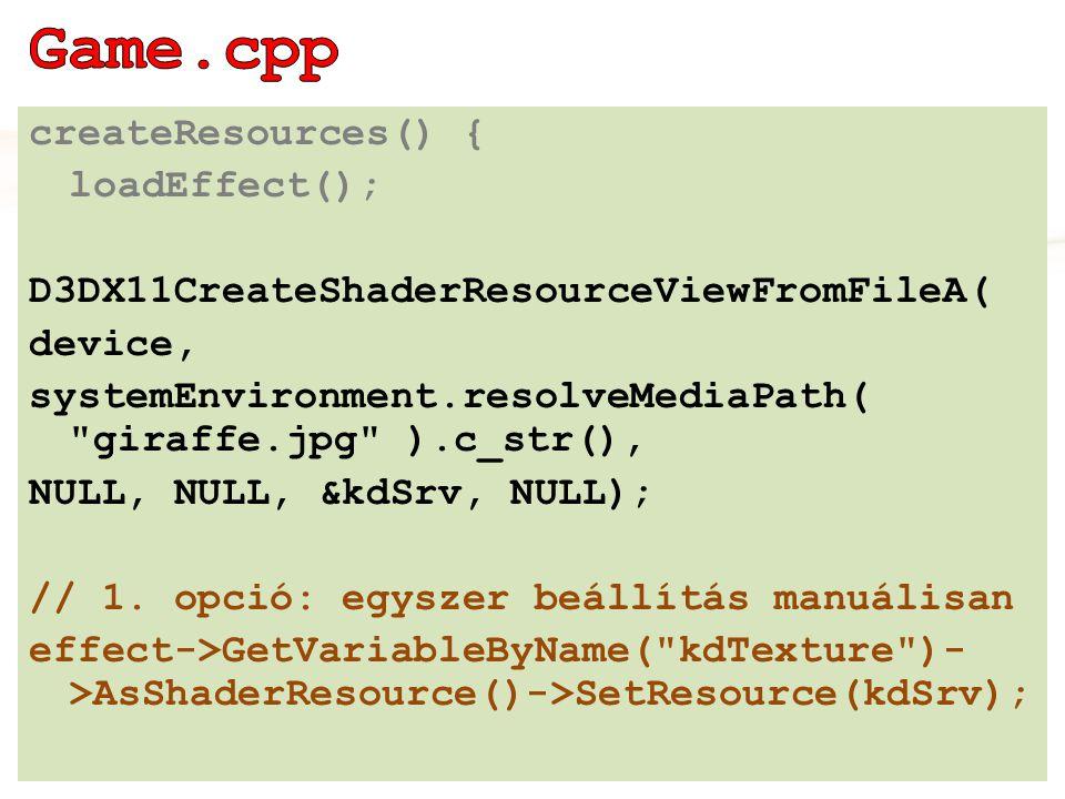 ID3DX11EffectPass* basicPass = effect- >GetTechniqueByName( idletextured )- >GetPassByName( idletextured ); Egg::Mesh::Material::P idletexturedMaterial = Egg::Mesh::Material::create(basicPas s, 0); shadedMesh = binder- >bindMaterial(idletexturedMaterial, indexedMesh); #8.0