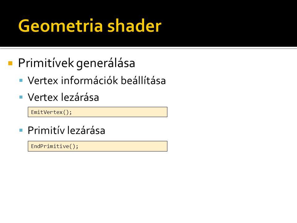  Primitívek generálása  Vertex információk beállítása  Vertex lezárása  Primitív lezárása EmitVertex(); EndPrimitive();