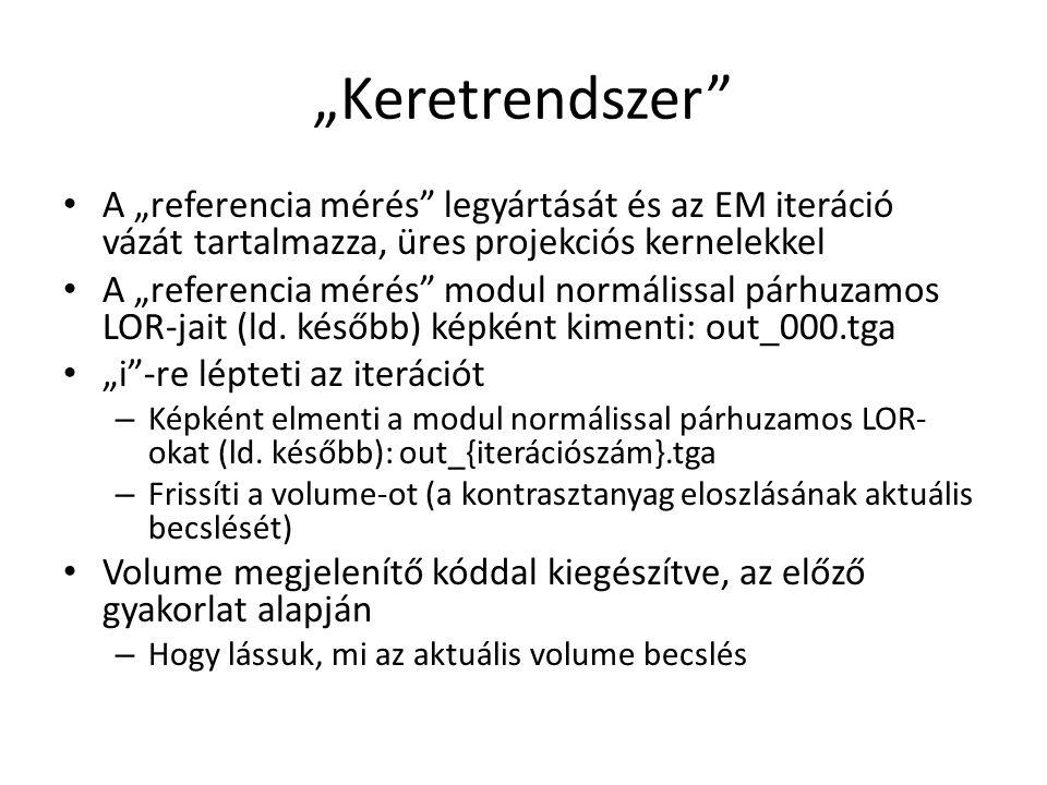 """""""Keretrendszer A """"referencia mérés legyártását és az EM iteráció vázát tartalmazza, üres projekciós kernelekkel A """"referencia mérés modul normálissal párhuzamos LOR-jait (ld."""