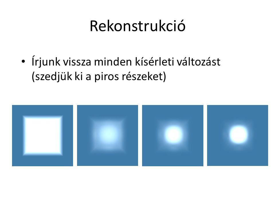 Rekonstrukció Írjunk vissza minden kísérleti változást (szedjük ki a piros részeket)