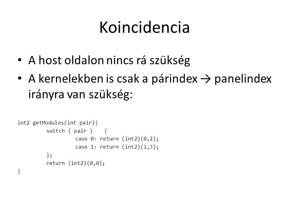 Koincidencia A host oldalon nincs rá szükség A kernelekben is csak a párindex → panelindex irányra van szükség: int2 getModules(int pair){ switch ( pair ){ case 0: return (int2)(0,2); case 1: return (int2)(1,3); }; return (int2)(0,0); }