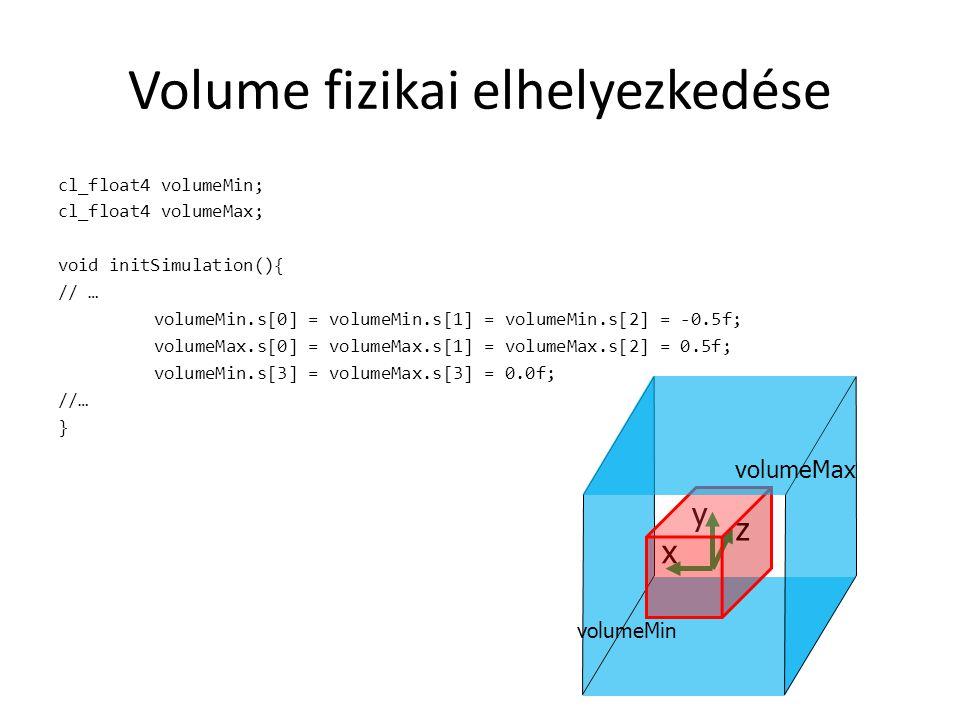 Adatok // LOR const int lorNumberPerPair = nAxial*nTransAxial*nAxial*nTransAxial; const int lorNumber = lorNumberPerPair*nPairs; cl_mem estimatedLorBufferGPU; cl_mem measuredLorBufferGPU; float estimatedLorBufferCPU[lorNumber]; float measuredLorBufferCPU[lorNumber]; void initSimulation(){ // … estimatedLorBufferGPU = clCreateBuffer(context, CL_MEM_READ_WRITE, sizeof(float) * lorNumber, NULL, NULL); measuredLorBufferGPU = clCreateBuffer(context, CL_MEM_READ_WRITE, sizeof(float) * lorNumber, NULL, NULL); // … } // Volume const int resolution = 32; cl_mem volumeBufferGPU; float* volumeData; void initSimulation(){ // … volumeData = new float[resolution * resolution * resolution]; for ( unsigned int x = 0; x < resolution; ++x ) for ( unsigned int y = 0; y < resolution; ++y ) for ( unsigned int z = 0; z < resolution; ++z ) volumeData[ x +resolution*y +resolution*resolution*z ] = 1.0f; volumeBufferGPU = clCreateBuffer(context, CL_MEM_READ_WRITE, sizeof(float) * resolution * resolution * resolution, NULL, NULL); CL_SAFE_CALL( clEnqueueWriteBuffer(commands, volumeBufferGPU, CL_TRUE, 0, sizeof(float) * resolution * resolution * resolution, volumeData, 0, NULL, NULL)); // … }