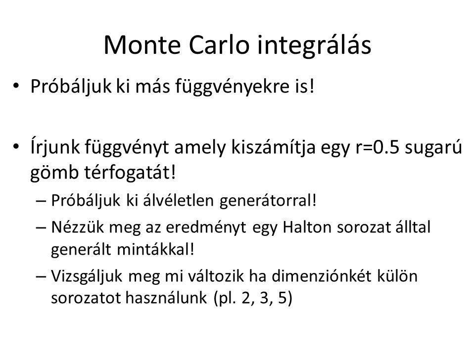Monte Carlo integrálás Próbáljuk ki más függvényekre is.