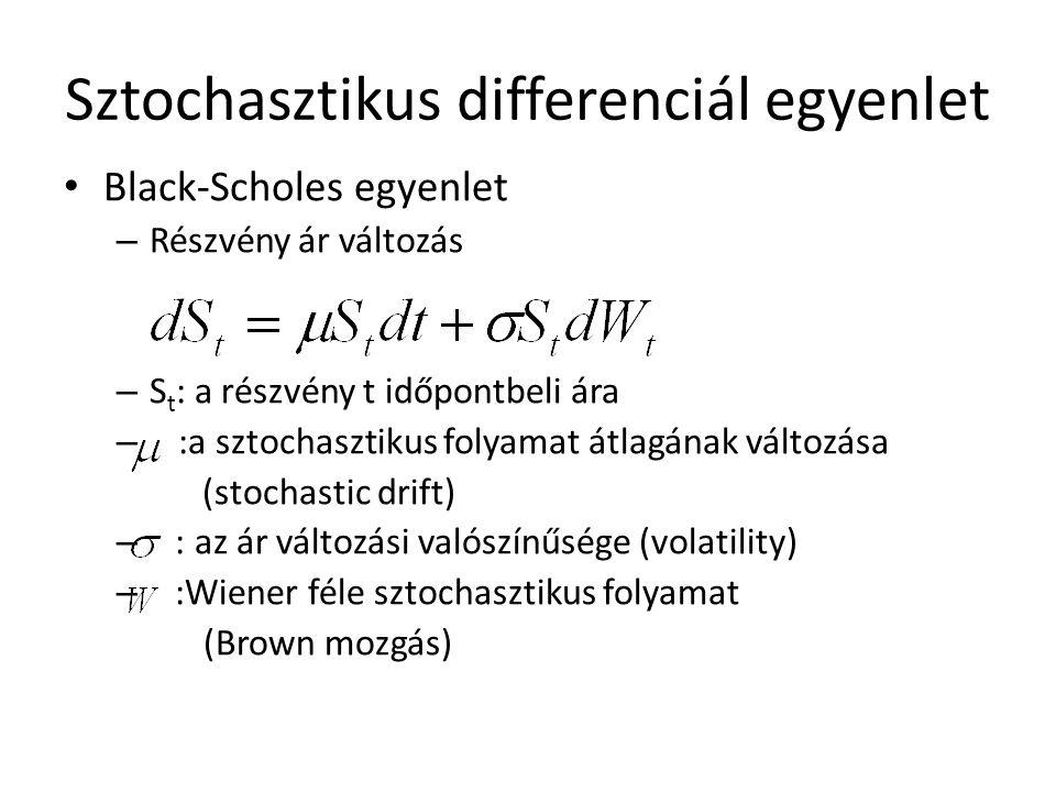 Sztochasztikus differenciál egyenlet Black-Scholes egyenlet – Részvény ár változás – S t : a részvény t időpontbeli ára – :a sztochasztikus folyamat átlagának változása (stochastic drift) – : az ár változási valószínűsége (volatility) – :Wiener féle sztochasztikus folyamat (Brown mozgás)
