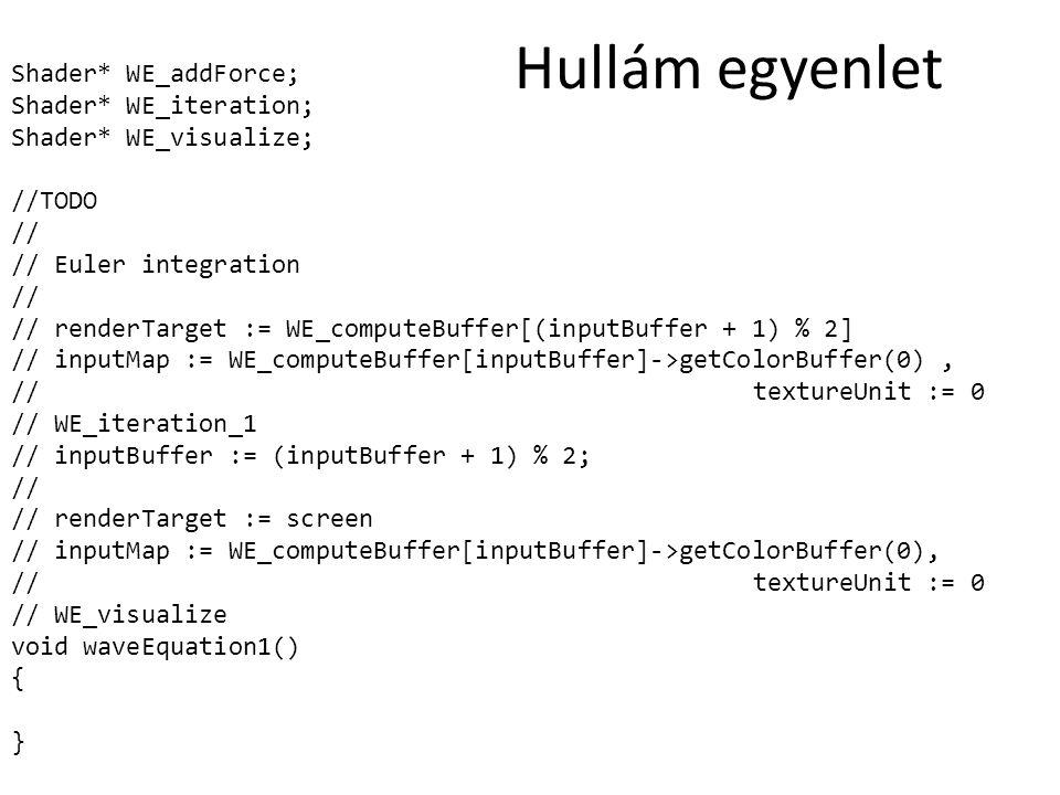 Shader* WE_addForce; Shader* WE_iteration; Shader* WE_visualize; //TODO // // Euler integration // // renderTarget := WE_computeBuffer[(inputBuffer +