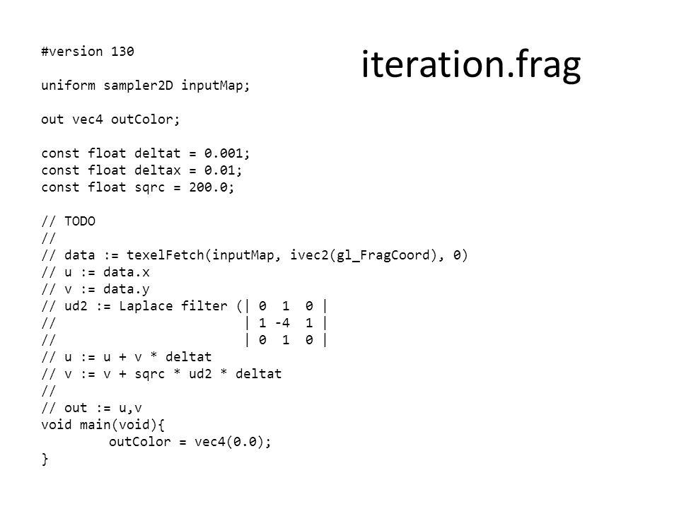 #version 130 uniform sampler2D inputMap; out vec4 outColor; const float deltat = 0.001; const float deltax = 0.01; const float sqrc = 200.0; // TODO /
