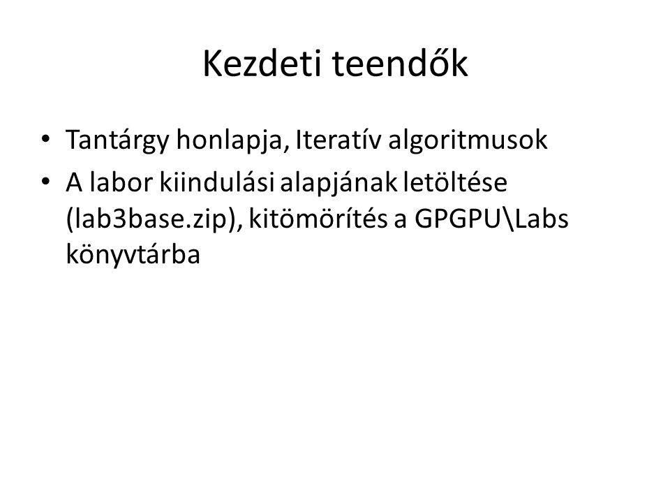 Kezdeti teendők Tantárgy honlapja, Iteratív algoritmusok A labor kiindulási alapjának letöltése (lab3base.zip), kitömörítés a GPGPU\Labs könyvtárba