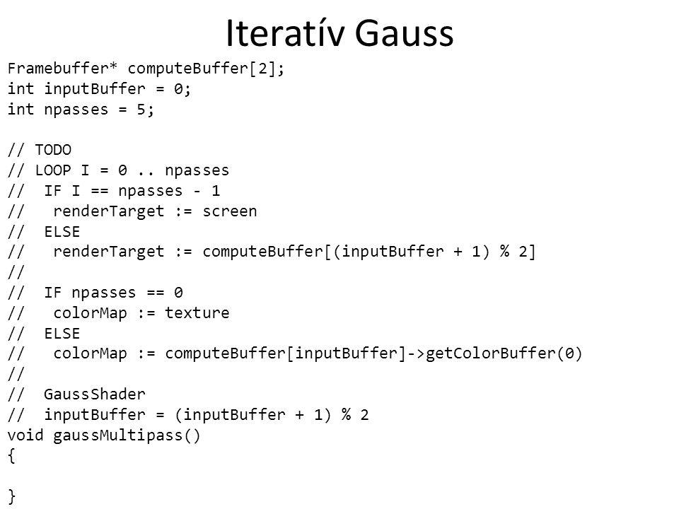 Iteratív Gauss Framebuffer* computeBuffer[2]; int inputBuffer = 0; int npasses = 5; // TODO // LOOP I = 0..