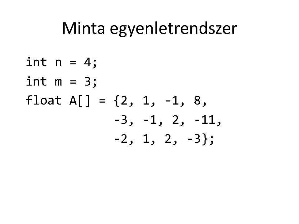 Minta egyenletrendszer int n = 4; int m = 3; float A[] = {2, 1, -1, 8, -3, -1, 2, -11, -2, 1, 2, -3};