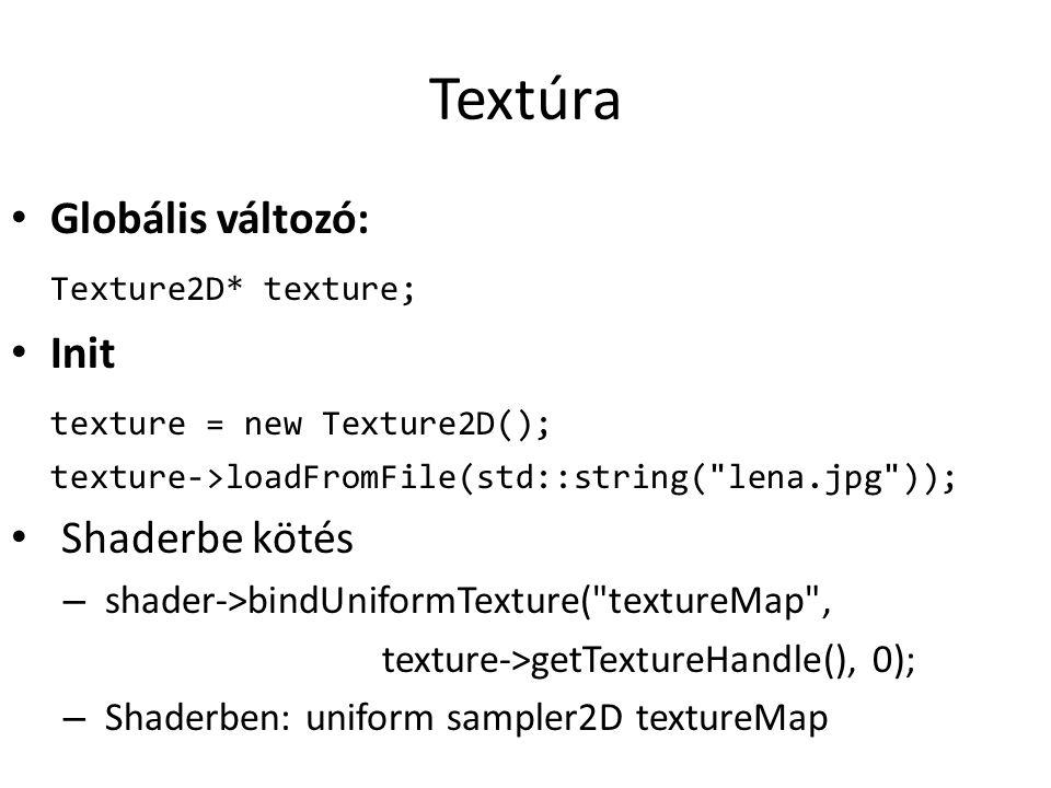 Textúra Globális változó: Texture2D* texture; Init texture = new Texture2D(); texture->loadFromFile(std::string( lena.jpg )); Shaderbe kötés – shader->bindUniformTexture( textureMap , texture->getTextureHandle(), 0); – Shaderben: uniform sampler2D textureMap
