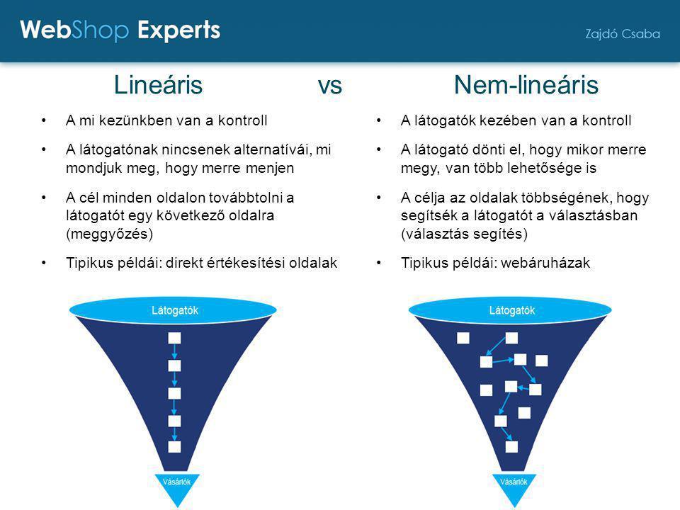 Lineáris vs Nem-lineáris A mi kezünkben van a kontroll A látogatónak nincsenek alternatívái, mi mondjuk meg, hogy merre menjen A cél minden oldalon továbbtolni a látogatót egy következő oldalra (meggyőzés) Tipikus példái: direkt értékesítési oldalak A látogatók kezében van a kontroll A látogató dönti el, hogy mikor merre megy, van több lehetősége is A célja az oldalak többségének, hogy segítsék a látogatót a választásban (választás segítés) Tipikus példái: webáruházak