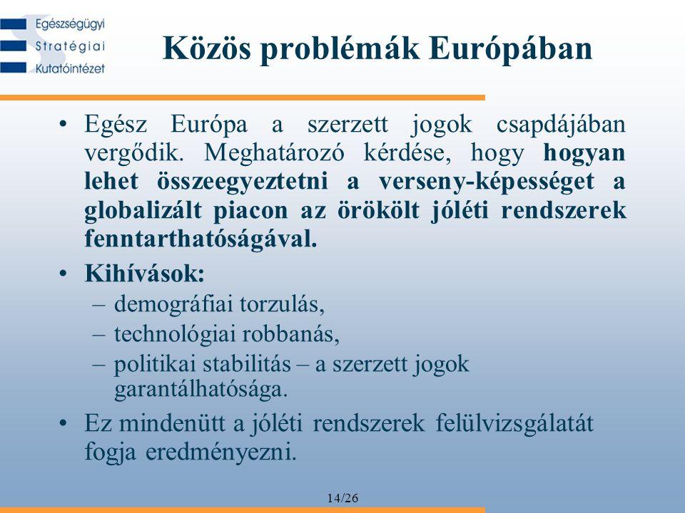 14/26 Közös problémák Európában Egész Európa a szerzett jogok csapdájában vergődik. Meghatározó kérdése, hogy hogyan lehet összeegyeztetni a verseny-k