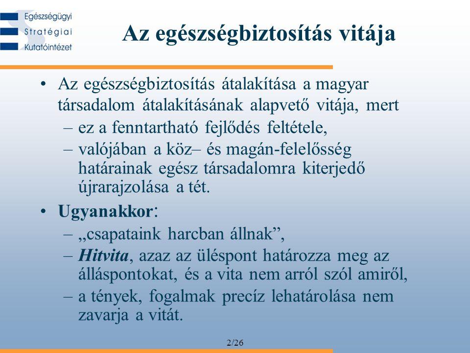 2/26 Az egészségbiztosítás vitája Az egészségbiztosítás átalakítása a magyar társadalom átalakításának alapvető vitája, mert –ez a fenntartható fejlőd