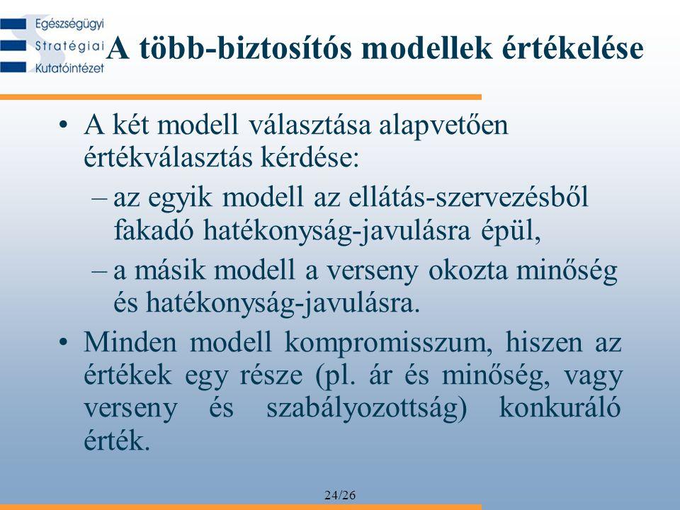 24/26 A több-biztosítós modellek értékelése A két modell választása alapvetően értékválasztás kérdése: –az egyik modell az ellátás-szervezésből fakadó
