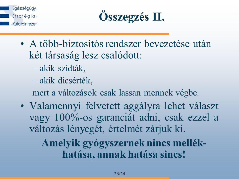 26/26 Összegzés II. A több-biztosítós rendszer bevezetése után két társaság lesz csalódott: –akik szidták, –akik dicsérték, mert a változások csak las