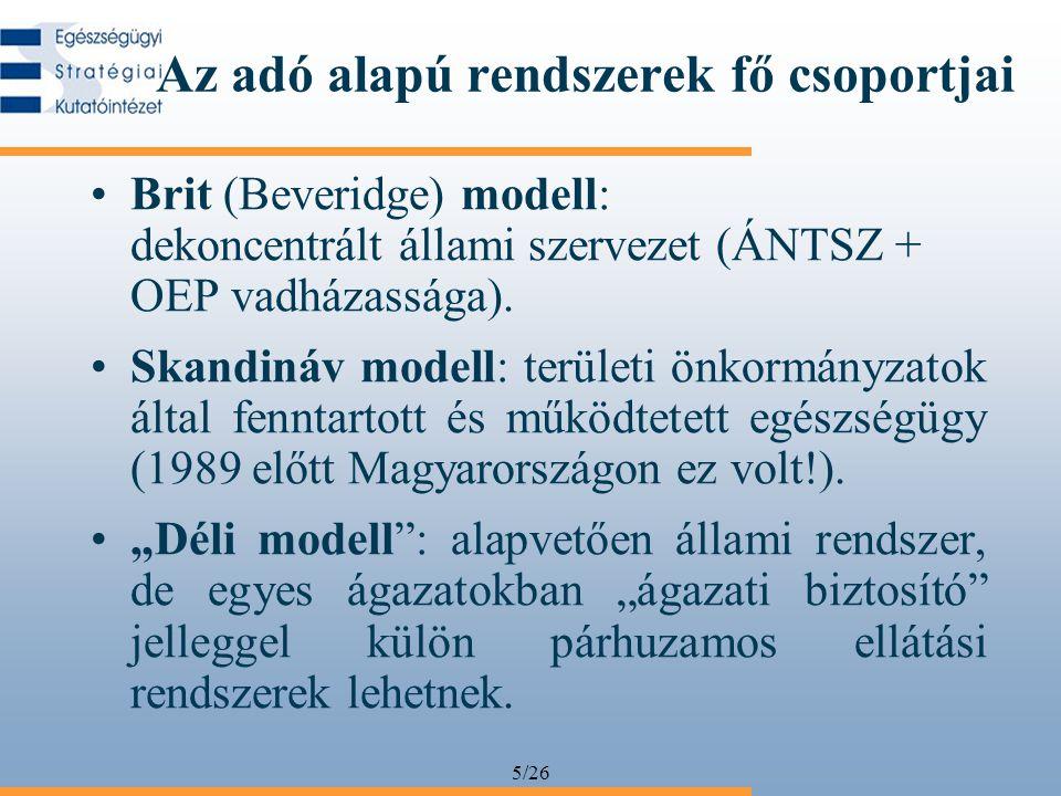 5/26 Az adó alapú rendszerek fő csoportjai Brit (Beveridge) modell: dekoncentrált állami szervezet (ÁNTSZ + OEP vadházassága). Skandináv modell: terül