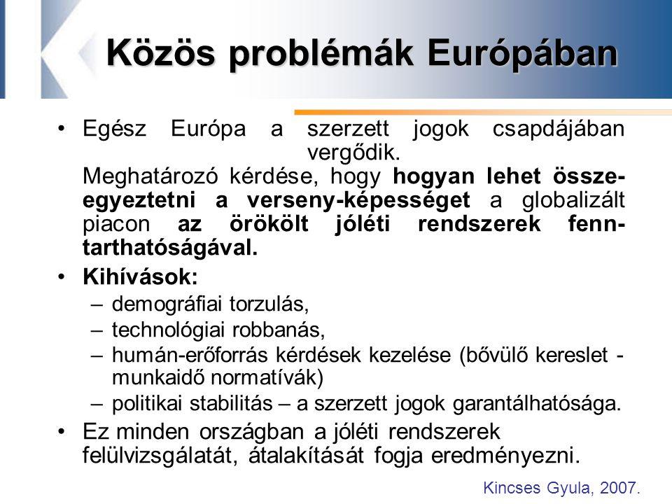 Közös problémák Európában Egész Európa a szerzett jogok csapdájában vergődik.