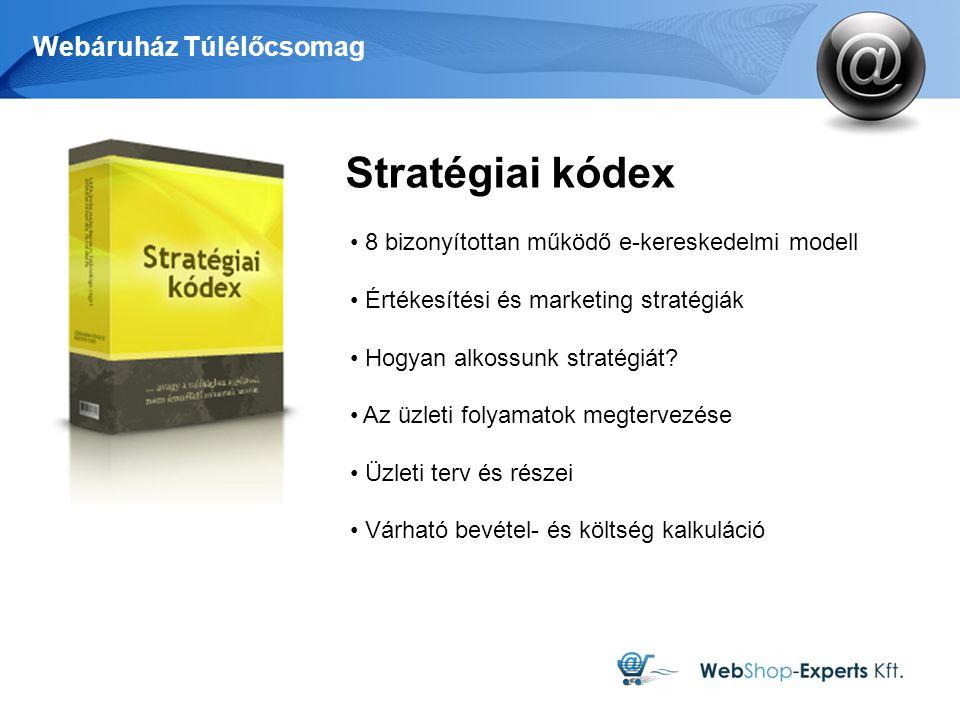 Webáruház Túlélőcsomag Stratégiai kódex 8 bizonyítottan működő e-kereskedelmi modell Értékesítési és marketing stratégiák Hogyan alkossunk stratégiát?