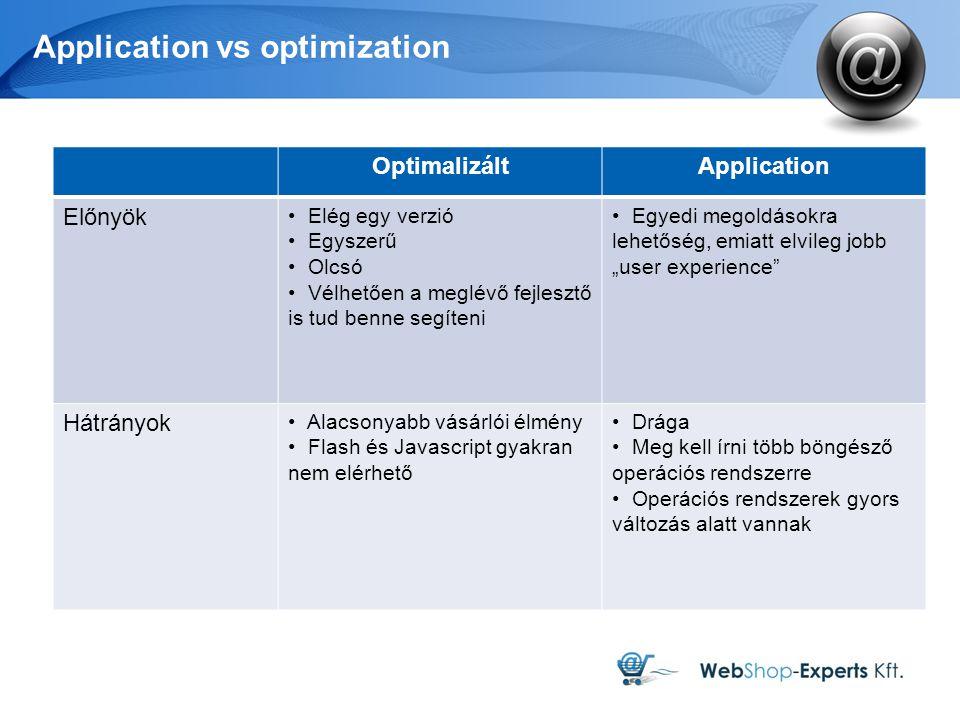 """Application vs optimization OptimalizáltApplication Előnyök Elég egy verzió Egyszerű Olcsó Vélhetően a meglévő fejlesztő is tud benne segíteni Egyedi megoldásokra lehetőség, emiatt elvileg jobb """"user experience Hátrányok Alacsonyabb vásárlói élmény Flash és Javascript gyakran nem elérhető Drága Meg kell írni több böngésző operációs rendszerre Operációs rendszerek gyors változás alatt vannak"""