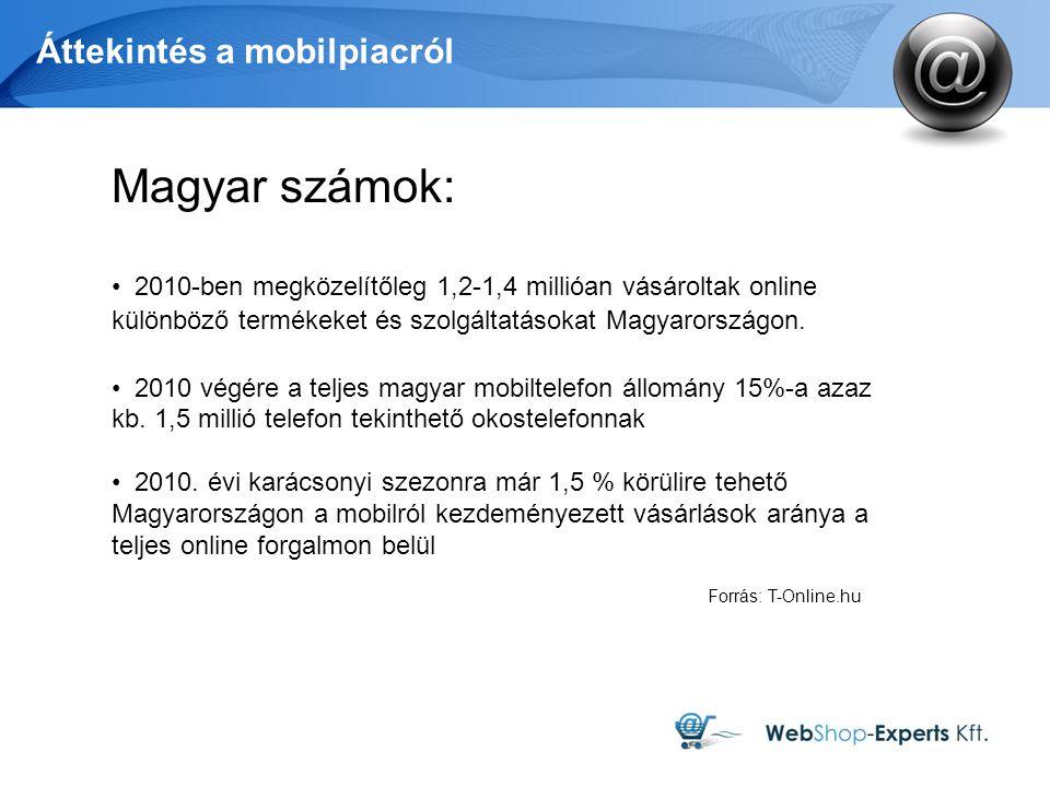 Áttekintés a mobilpiacról Forrás: T-Online.hu Magyar számok: 2010-ben megközelítőleg 1,2-1,4 millióan vásároltak online különböző termékeket és szolgáltatásokat Magyarországon.