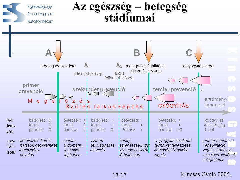 13/17 K i n c s e s G y u l a Kincses Gyula 2005. Az egészség – betegség stádiumai betegség:0 tünet:0 panasz:0 betegség: + tünet: + Panasz + betegség: