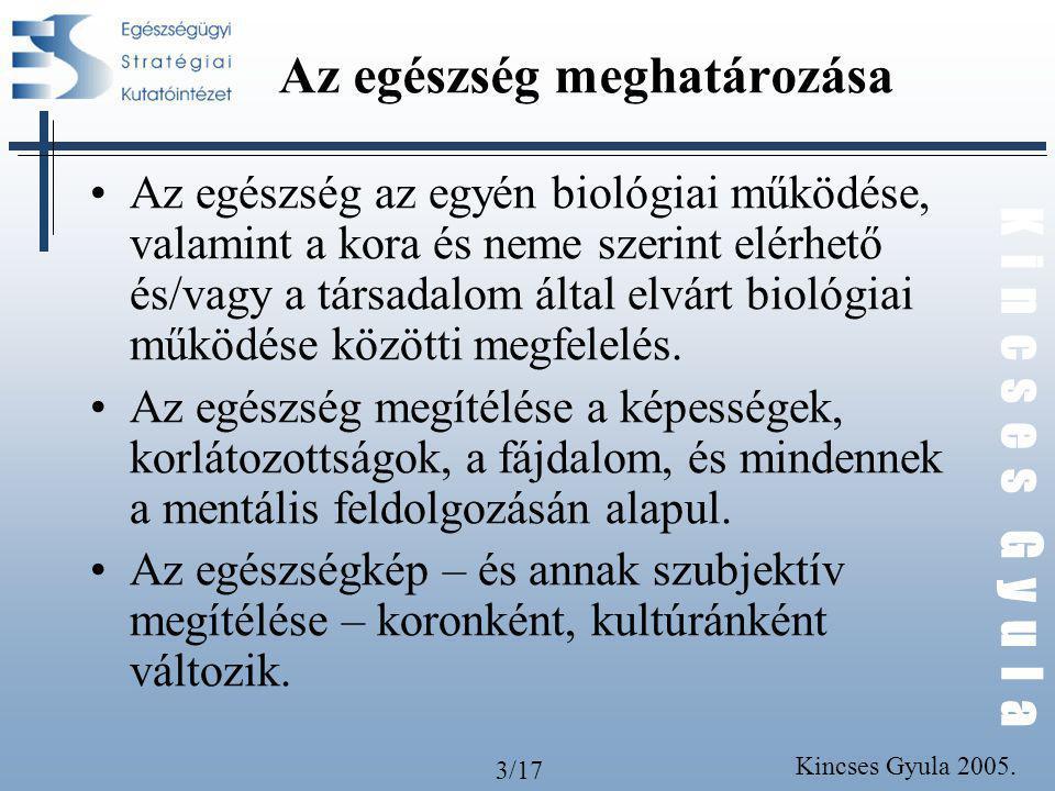 3/17 K i n c s e s G y u l a Kincses Gyula 2005. Az egészség meghatározása Az egészség az egyén biológiai működése, valamint a kora és neme szerint el