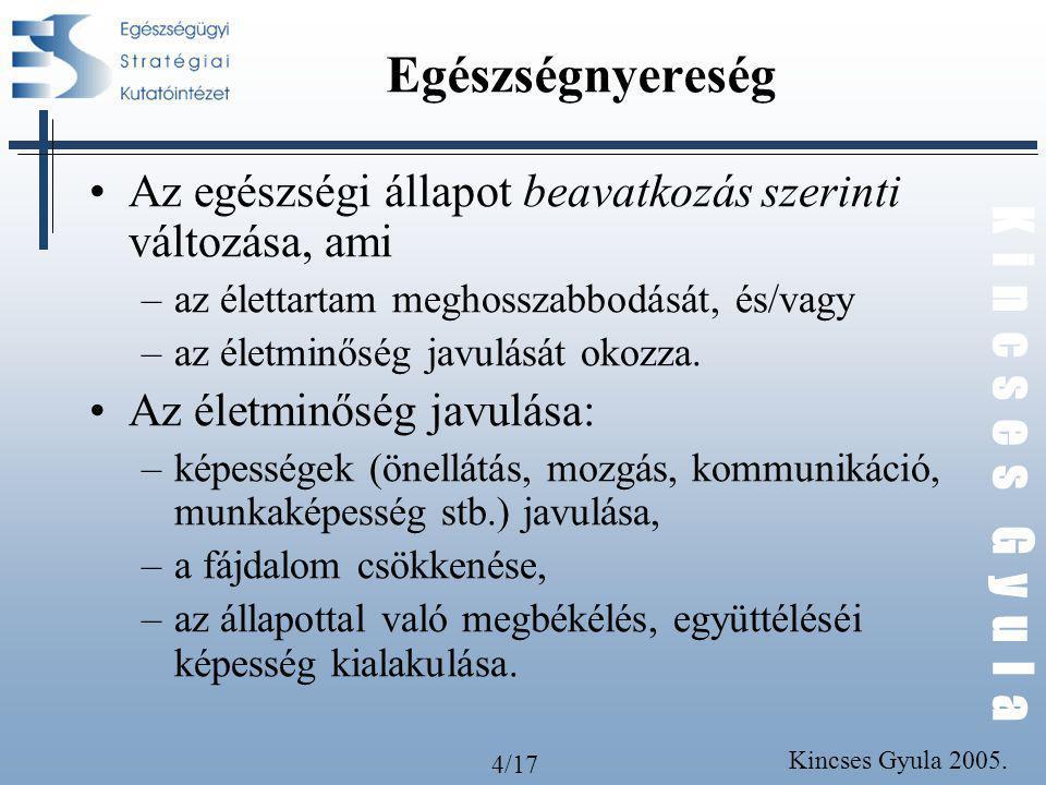 4/17 K i n c s e s G y u l a Kincses Gyula 2005. Egészségnyereség Az egészségi állapot beavatkozás szerinti változása, ami –az élettartam meghosszabbo